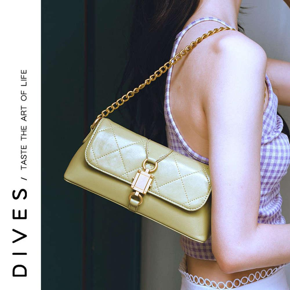 Devas New Style Single Slant Span Span Diamond Lattice Chain Stick Portable PU Bolsa de mujer