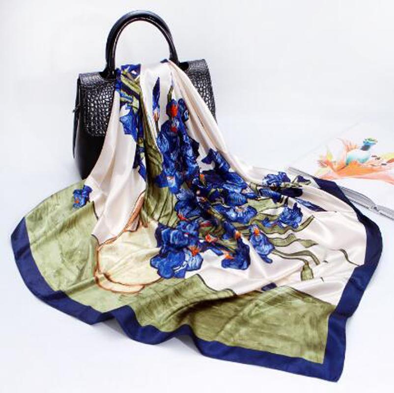 Silk Scarf Lady Silk Print Scarf 90cm oil painting damask square scarf gift Shawl(minimum quantity:2 pieces)