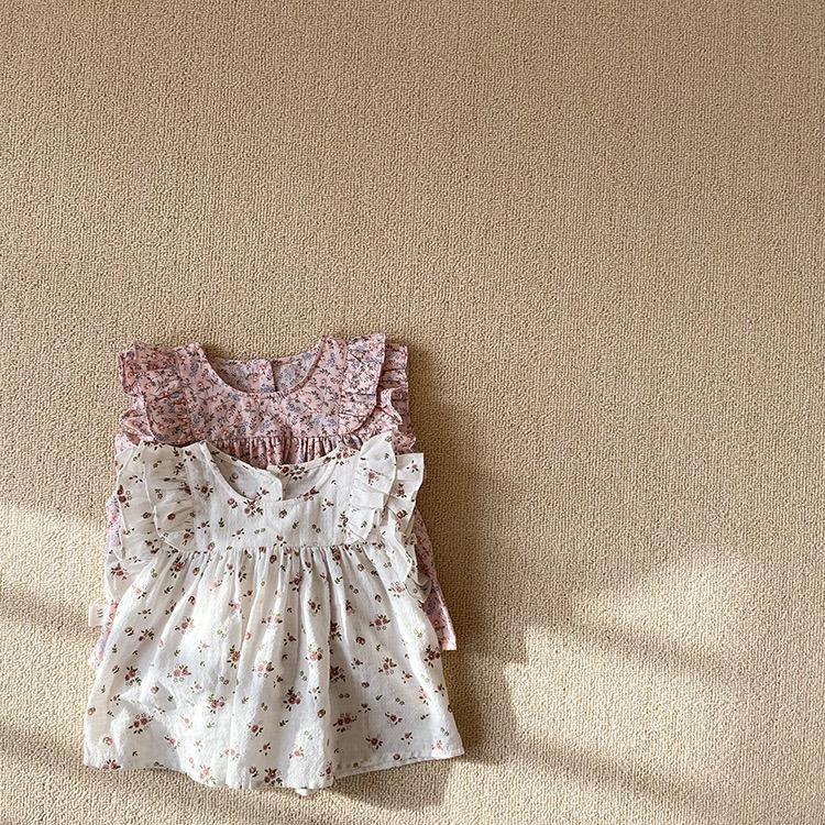 Ins الكورية طفل رضيع جميل أطفال بنات القمصان الأزهار الصيف الموضات الكشكشة القطن قمم البلوزات