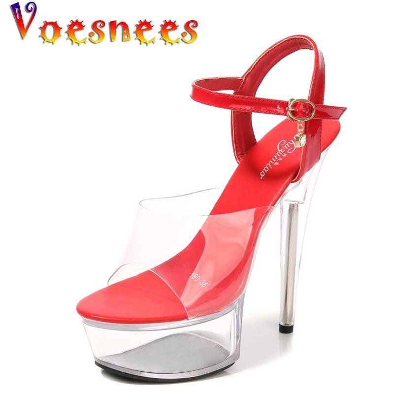 VOesnees 15 см FILE каблуки женские сандалии летние лето высокие каблуки прозрачные водонепроницаемые платформы женские свадебные туфли модели подиума