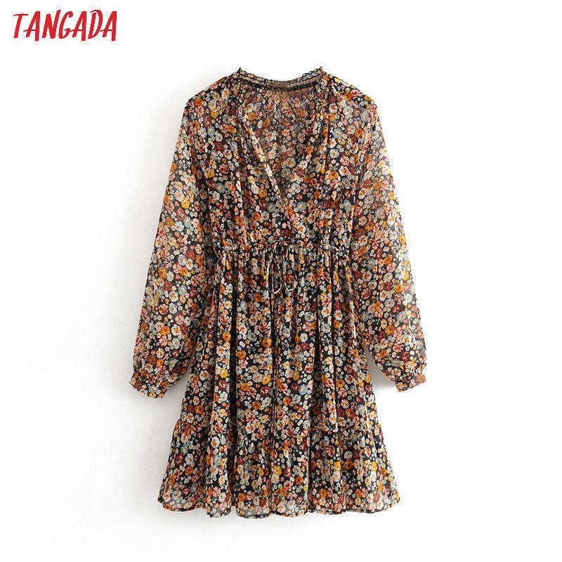 Tangada Fashion Femmes Femmes Sweet Flowers Imprimer Robe en mousseline de mousseline à col V Taille tendance Taille longue manches longues Mini robe Vestidos 3H361 210224