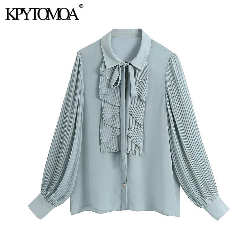 Kpytomoa Donne Moda con bottoni Blouss Ruffled Vintage Pleated Manica Lunga Abbigliamento da ufficio Abbigliamento femminile Camicie Femminili Blusas Chic Tops 210226