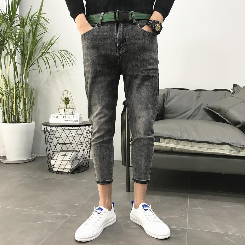 Оптом черный серый классический все матч осень микропередача тонкий джинсовые брюки мужские модные свободные повседневные инструменты старые штаны