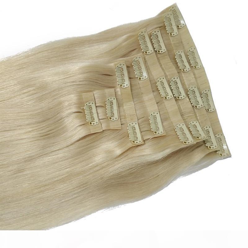 Cabeça completa Conjunto 8 pcs clipe em extensão de cabelo humano remy 120grams 613 loira sem costura clipe extensão de cabelo