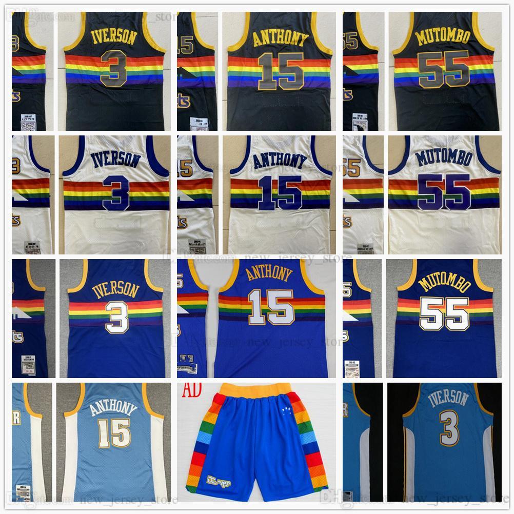Retro Mitchell y Ness 3 Allen Baloncesto Ivson Jersey cosido 15 Carmelo 55 Dikembe Anthony Mutombo Jerseys Shorts White Black Blue MN Vintage