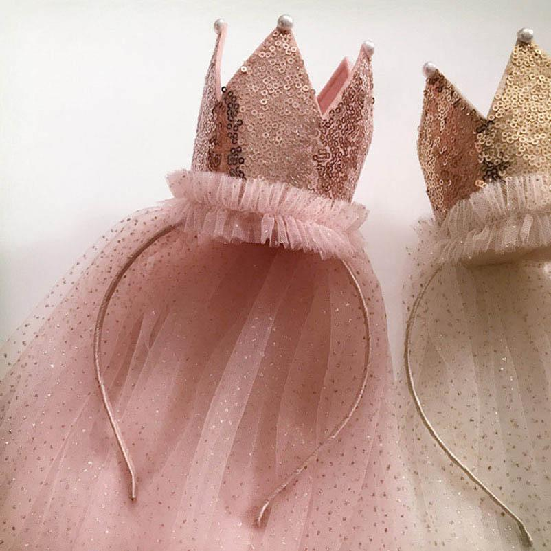 Mädchen Haarschmuck Haarstangen Nette Stirnbänder Für Mädchen Kinder Zubehör Spitze Krone Pailletten Prinzessin Geburtstag Kopfbänder B4267