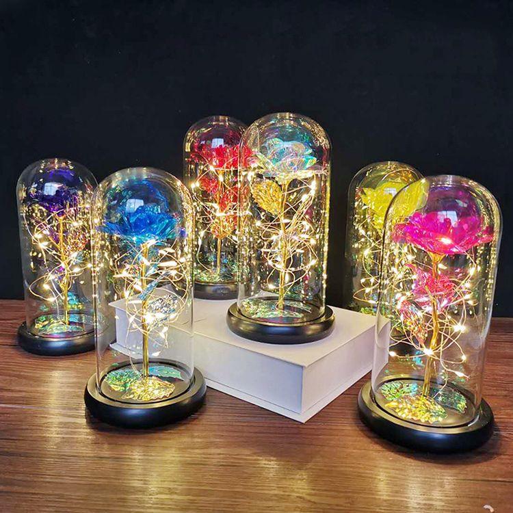 عيد الميلاد لصالح الذهب احباط روز زهرة الزجاج غطاء الصمام مصباح محاكاة اللون aurum بلوم 24 كيلو عيد هدية عيد الديكور الحلي