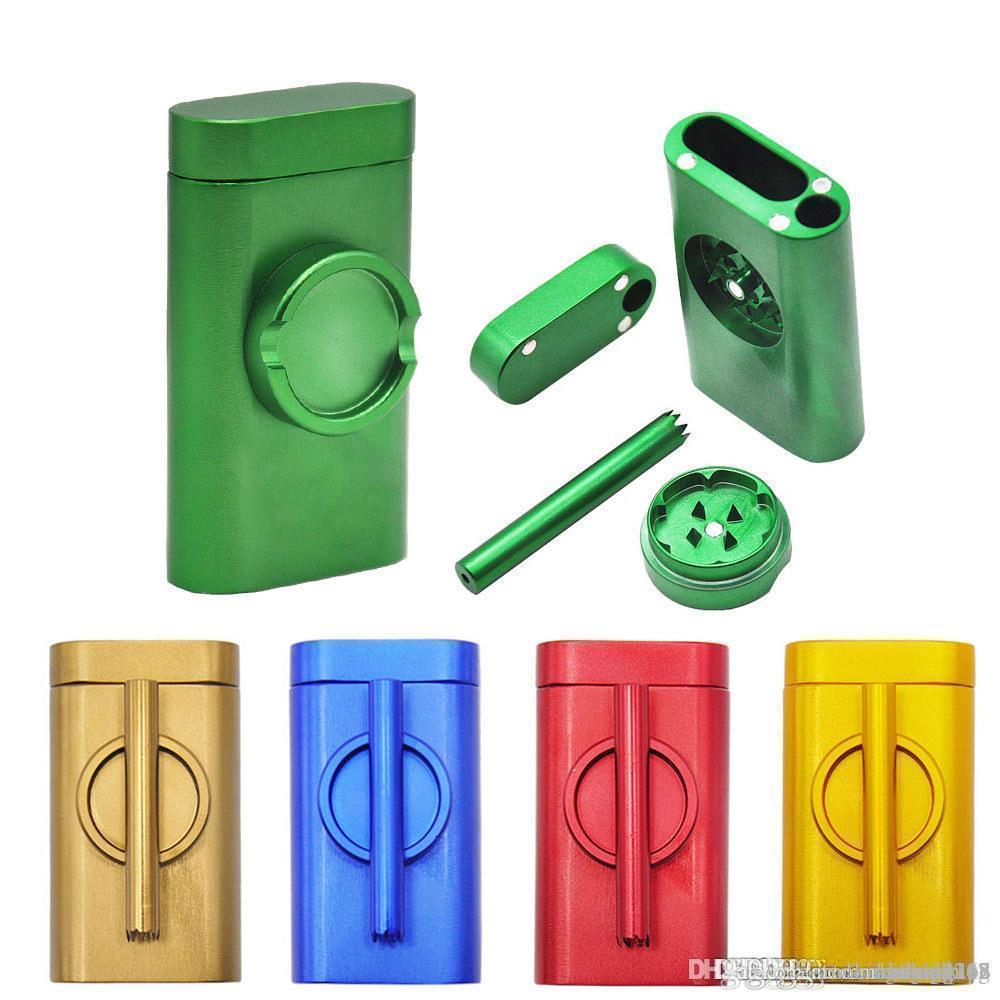 금속 dugout 연기 파이프로 설정된 히터 연기 기계 grindercase 핀치 타자 그라인더 콤보 담배 홀더 필터 파이프