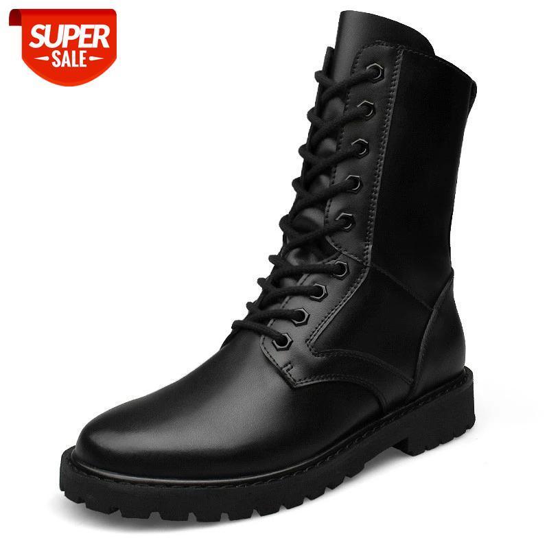 Большие размеры натуральные кожи мужские ботинки охватывают высокие лучшие мужчины военные пустынные кожаные сапоги мода круглый носок RTG789 # NW5E