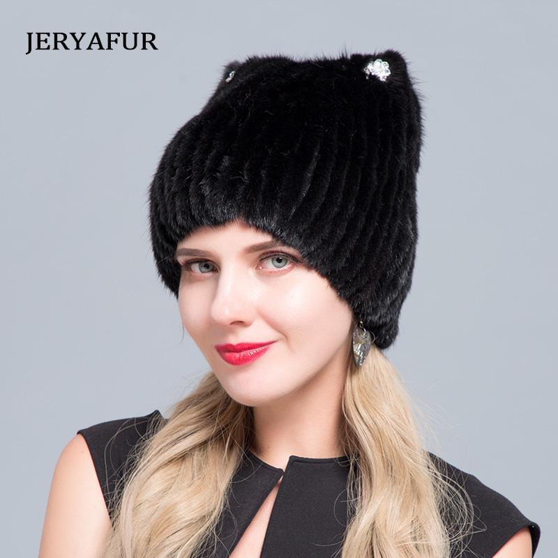 Шапочка / черепные колпачки Jeryafur зимняя женщина мода лыжная крышка снег поездка пуловер водяной алмаз украшенный кошка ухо в форме