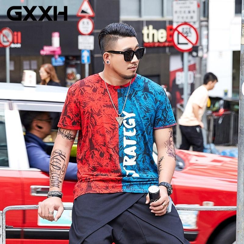 GXXH 2021 Summer cotone T Style Stile Rosso Blu T-Shirt T-shirt Maglietta Manica Corta Top Tees T-Shirt T-Shirt Oversize