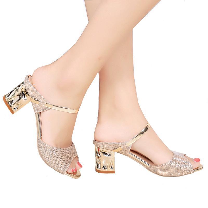 Elbise Ayakkabı kadın yüksek topuk sandalet moda vahşi kare balık ağzı açık toe terlik ile