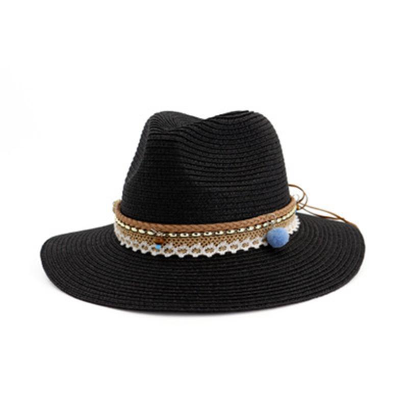 straw hats women summer spring big brim sun hats outdoor beach chain band casual party sun protective elegant women summer hats