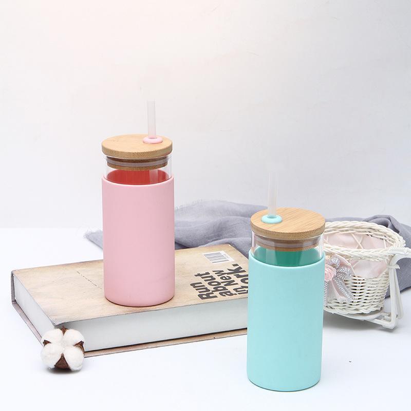 550 мл бутылки с водой портативный стеклянный бутылка для водяной чашки солома деревянная крышка соломинка чашка бамбука крышка антисвязки силиконовые рукава кружка
