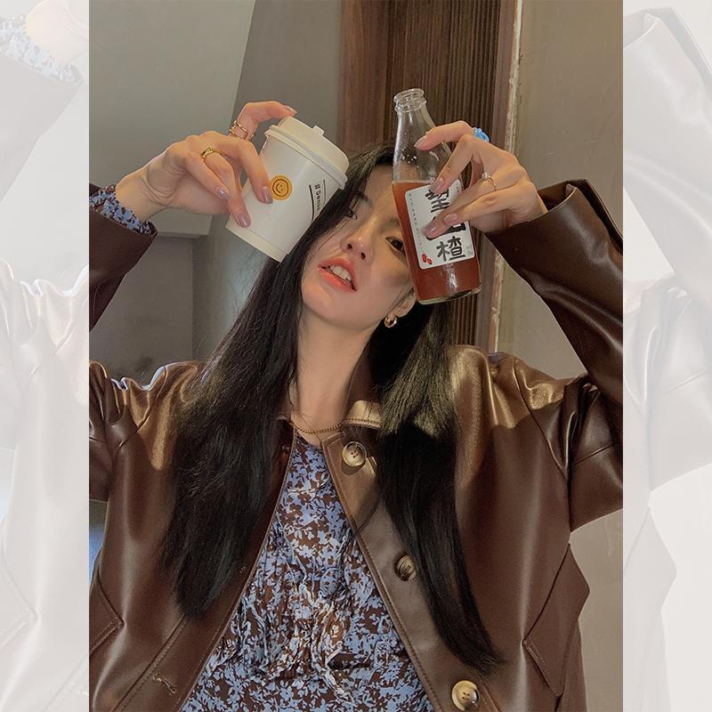 Женская кожаная из искусственного 2021 настоящая овчина куртка женская пружина подлинные куртки женщины мода корейский осенний одежда Весов CUIR FEMME WPY2858