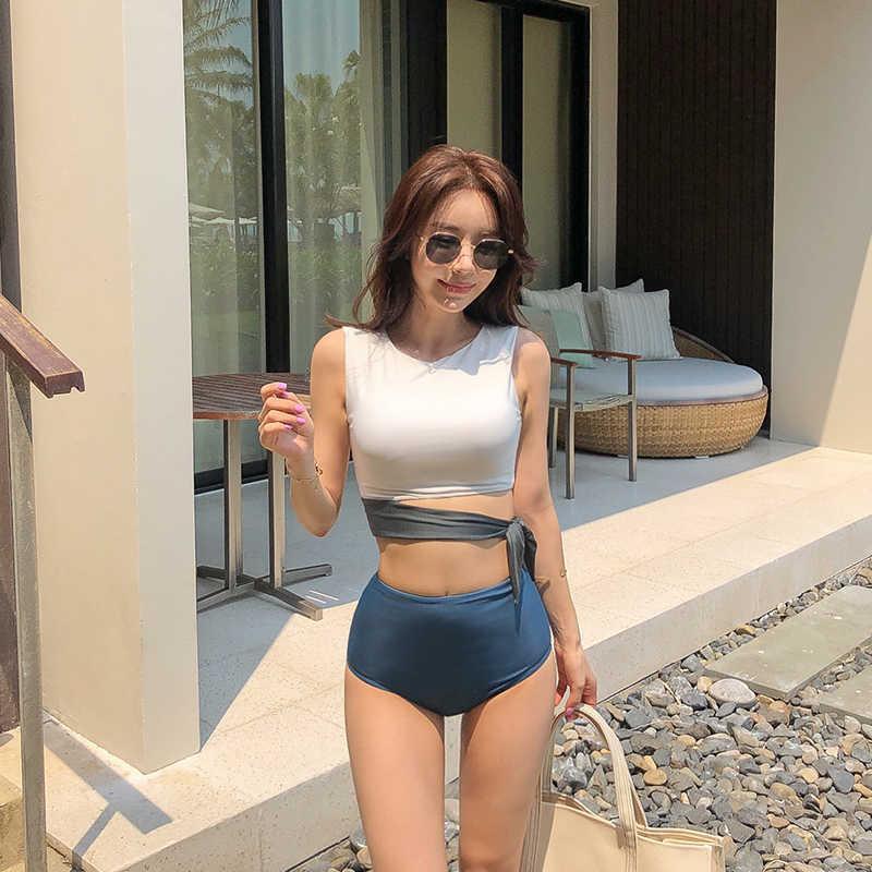Женщины Bikini Set Bandeau Biquine Fiquini Taille High Quality Beach Pak 2020 Koren Style Batsuit