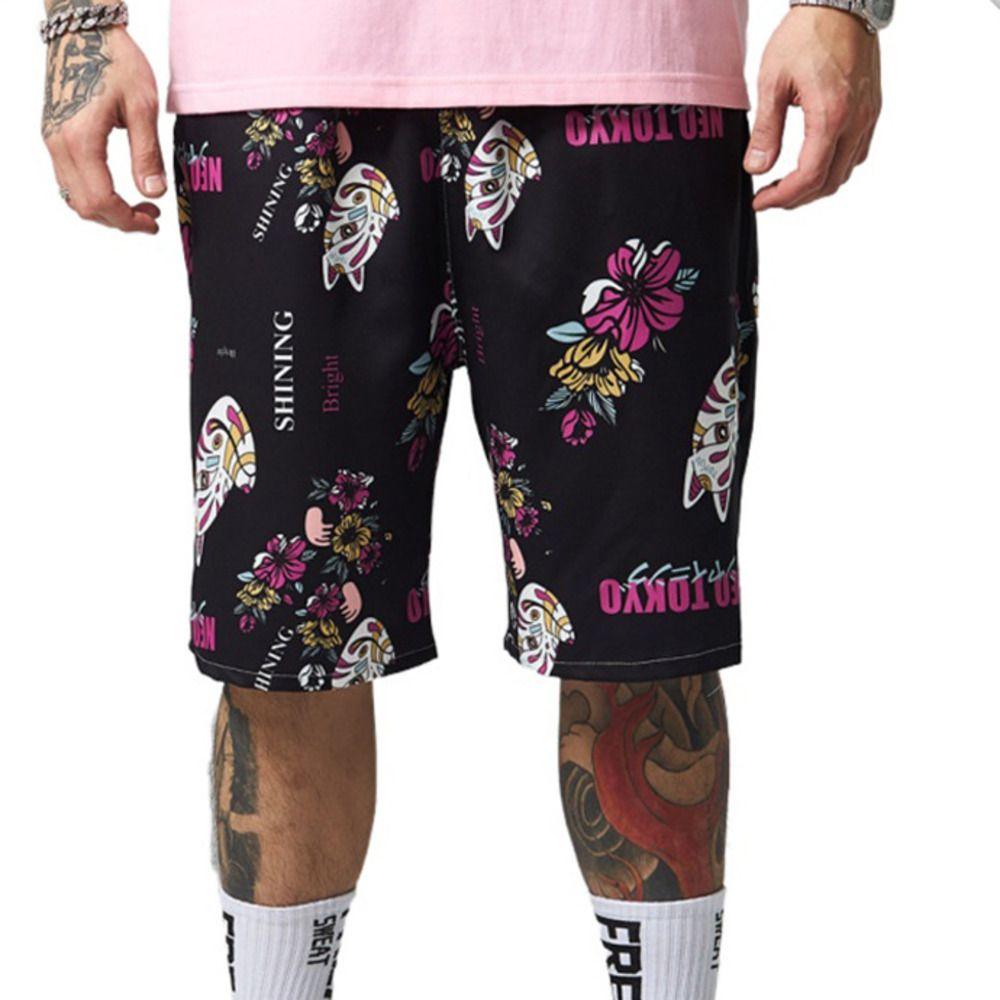 Japonés-Estilo 2020 Nuevos Hombres de verano Pantalones cortos Pantalones cortos de coco de secado rápido Gato impreso Cintura elástica Corta Masculino Black Drop Shipping L0221