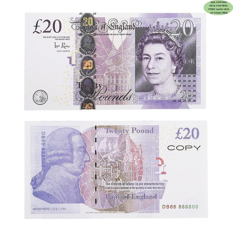 Prop-Geld-Kopie UK Pounds GBP Bank 100 50 Anmerkungen Extra Bank Strap - Filme spielen gefälschte Casino-Fotokabine