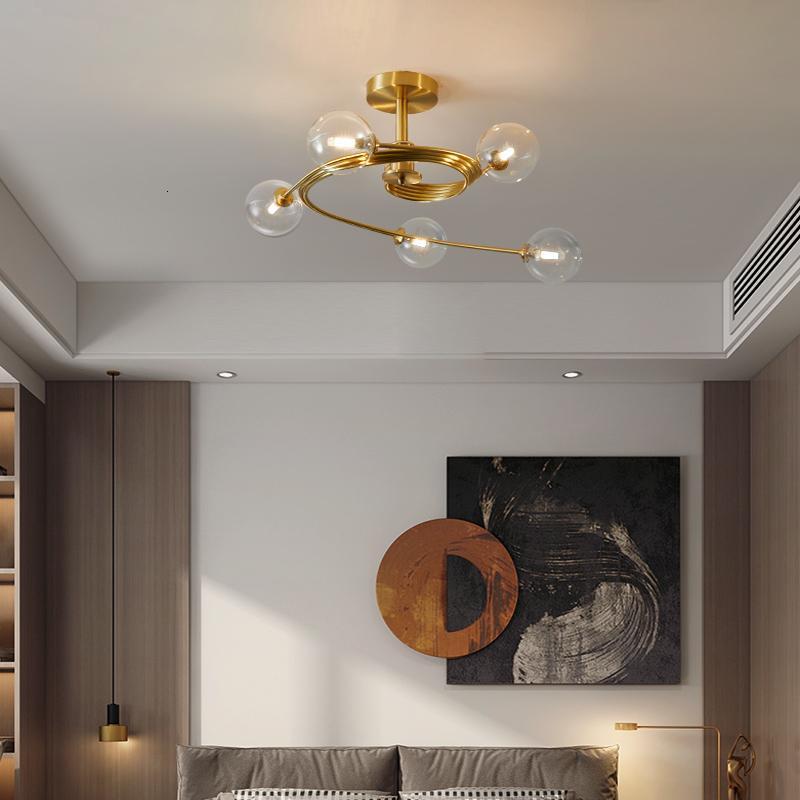 Северный стеклянный шар светодиодный блеск охватывает золотые потолочные лампы для гостиной лобби дома лампы V8U0