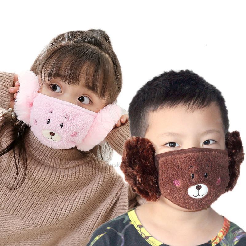 Animaux enfants mignon oreille protectrice bouche peluche masque de peluche broder conception 2 en 1 enfant hiver masque masques enfants bouche-muffle xhk0hx