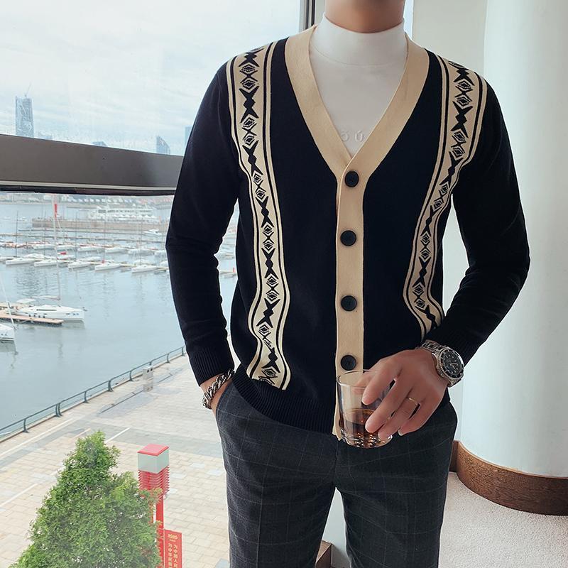 Kış Sonbahar ve Yeni erkek V Yaka Uzun kollu Rahat Kazak Hırka İngiliz Moda Kontrast Renk Retro Örme J K3YP
