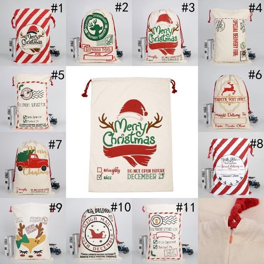 Sacos de algodão de canvas de Santa de Natal Sacos de algodão pesado grande sacos de presente de festival personalizado Decoração de Natal