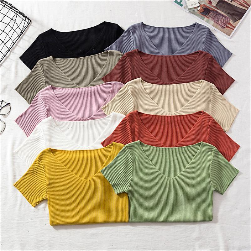Womens Sweater Women Spring Summer Pullover Sweaters V Neck Short Sleeve Solid Knitting Tops Drop