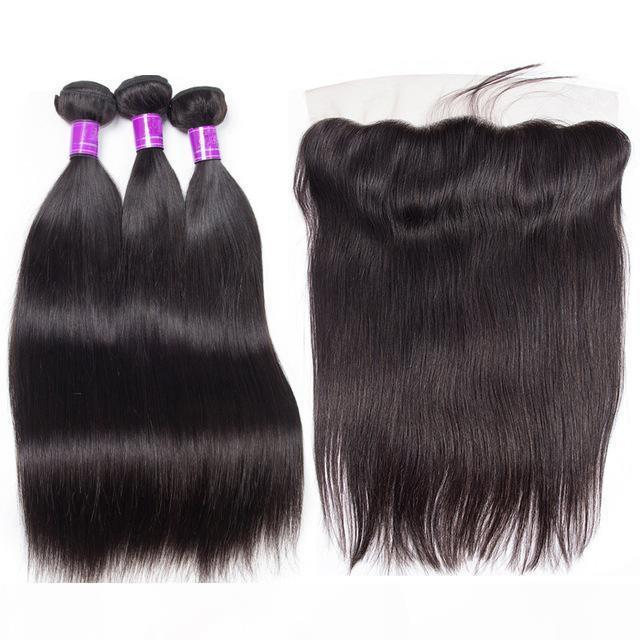3 пучка с кружевной лобной 4шт. Лот Норка Бразильские прямые пакеты волос с фронтальной струей Натуральный черный цвет Девы прямые волосы