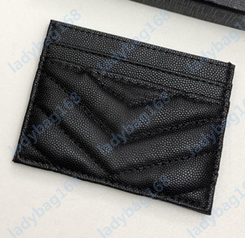 2021 Новые держатели моды карты икры женщина мини-кошелек дизайнер чистый цвет натуральная кожаная текстура галька роскошные черные кошельки с коробкой