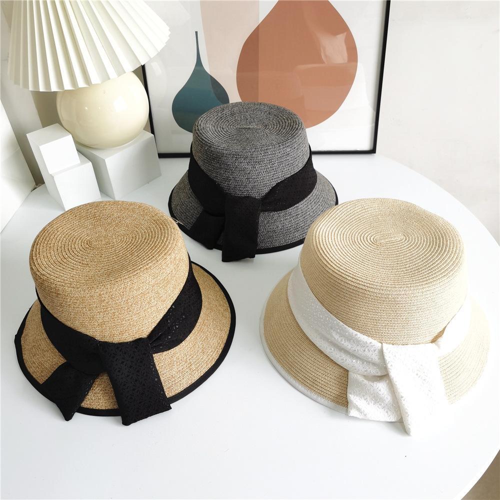 새로운 여름 일본인 태양 색상 일치하는 리본 밀짚 모자 여성 캐주얼 패션 양동이 모자 패션 분지 모자