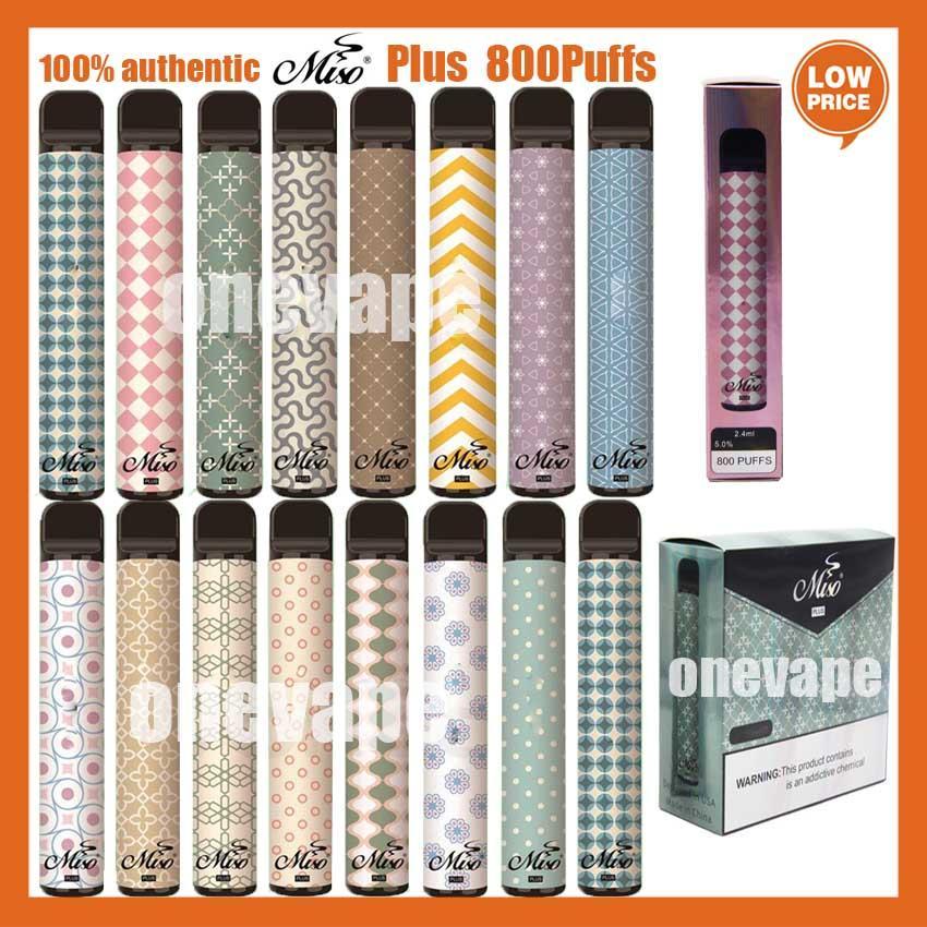 Puff Miso Plus Устройство одноразовые сигареты Vape Peen 800Установок 2.4 мл Pods Картридж 550 мАч Батарея E CIG PK Bang XXL