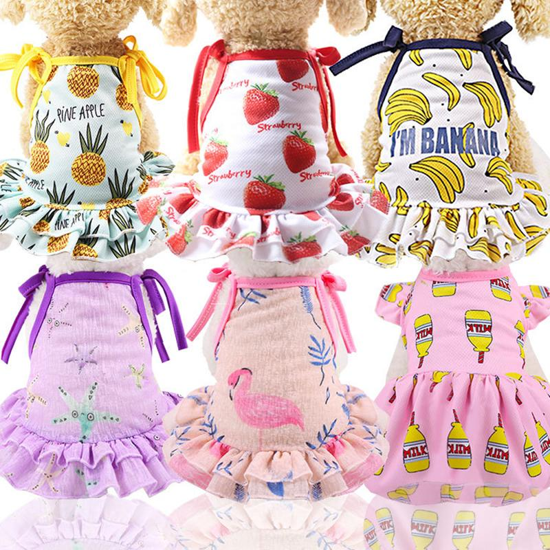 Cotton Pet Clothes Cute Fruit Pattern Dress T-shirts Lovers Suit Small Medium Cat Dog Clothes Pet Supplies Dog Skirts Poodle