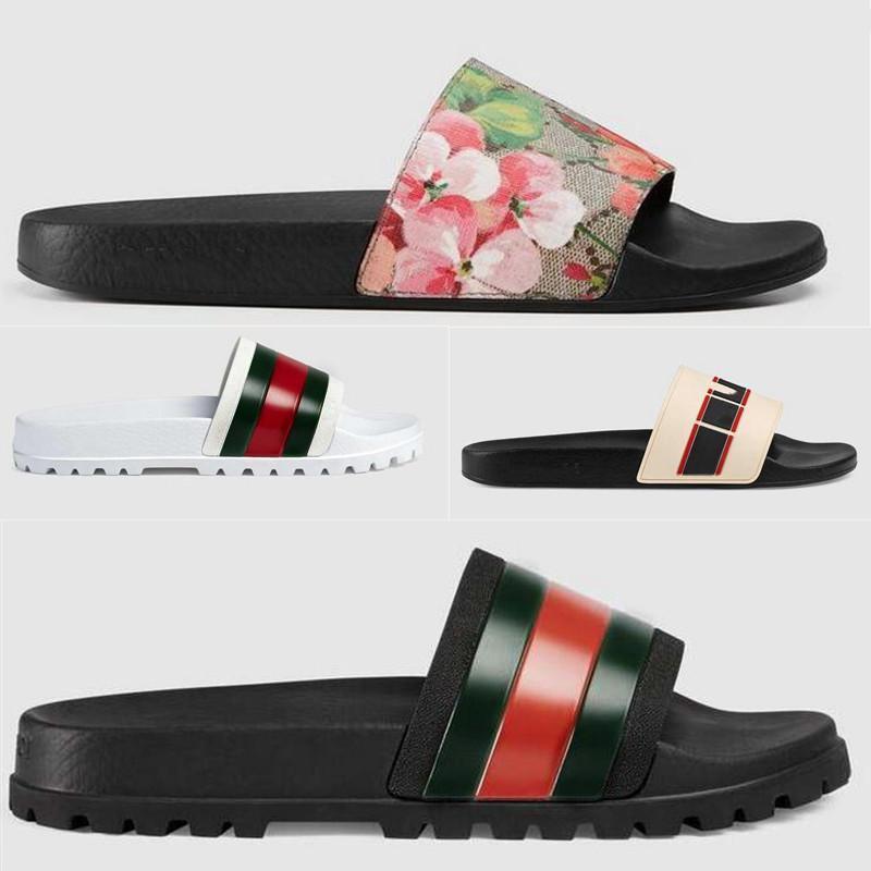 Slayt Erkek Terlik Bayan Sandalet Flip Flop Tasarımcı Moda Klasik Çiçek Yılan Kaplan Yaz Geniş Topuk Düz Kauçuk Sandalet Sakız Terlik Çizmeler Isıtma