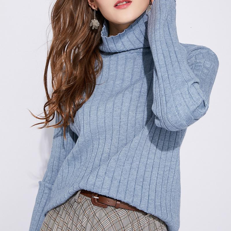 Neue Baumwolle 2021 Rippen gestrickte Pullover Frauen Rollkragen Pullover Pullover Elegante weiche weibliche Jumper Langarm Strickwaren Zug Akor