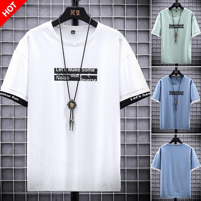 2021 Neuer Baumwolldesigner Tshirts 4XL männlich lustiger Modebrief Lets haben einige lustige T-Shirts für Männer weißes T-Shirt 001w