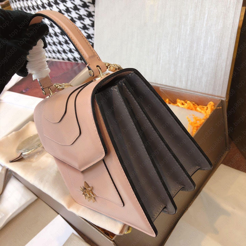 Designer Womens Handtaschen Geldbörsen Schlange 3-Lagen Orgel Kette Tasche mit Griff Make-up Spiegel Kalbsleder Echtes Leder Top 7A Qualität Kleine Schulter Crossbody Bags