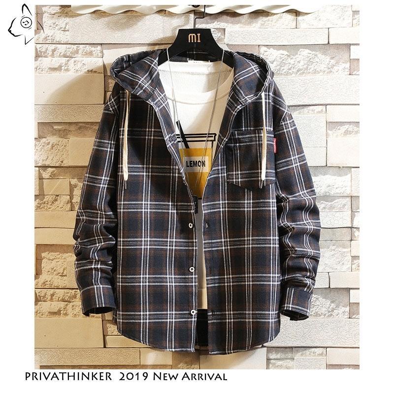 Privathinker mens streetwear de manga comprida camisa de manga longa masculino casaco de xadrez de bolso Causal plus tamanho camisa de algodão 210310