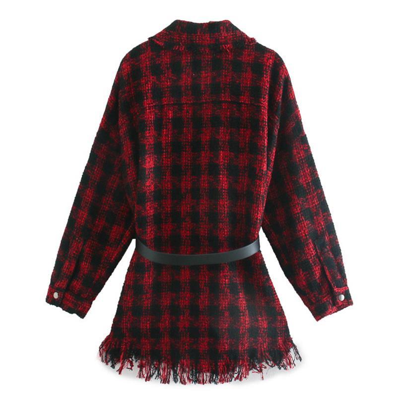 Hadara Tarzı Tiki Turn Down Yaka Bluzlar Moda Kravat Kemer Bel Gömlek Kadınlar Zarif Kırmızı Ekose Kadın Ladi Z6N2 Tops