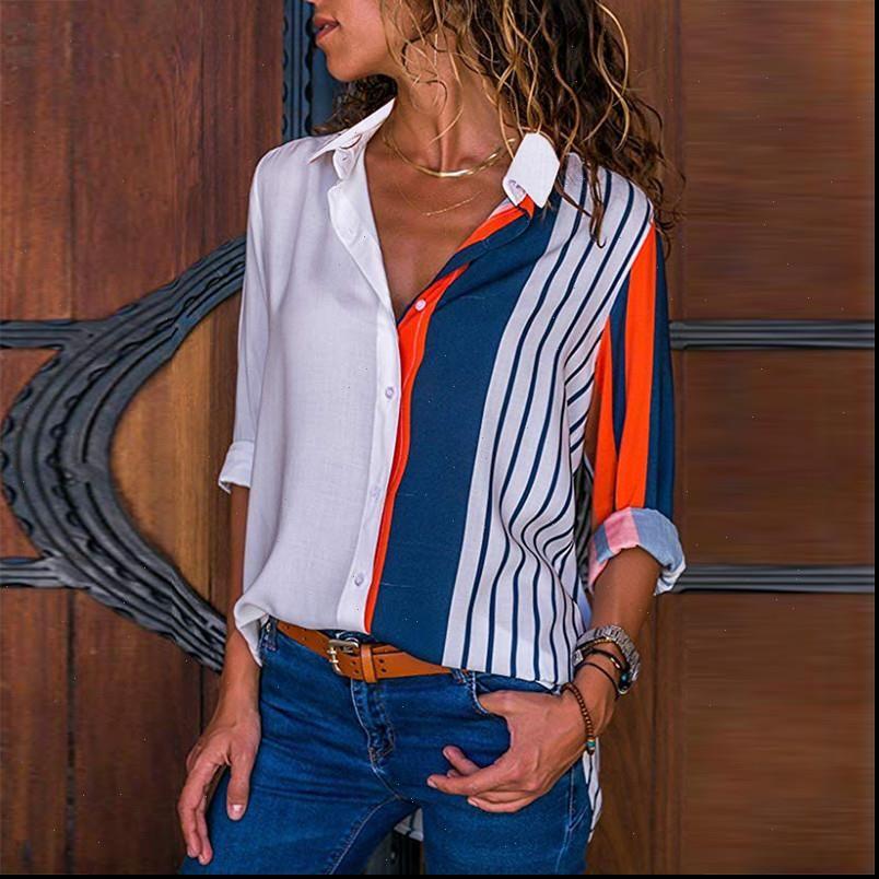 Rogi Женщины Блузки 2021 Цвет Блок Полосатая Рубашка Элегантный Офис Леди Блуза Повседневная Случайная Рукав Кнопка Рубашка Рубашка Топы Химия Femme