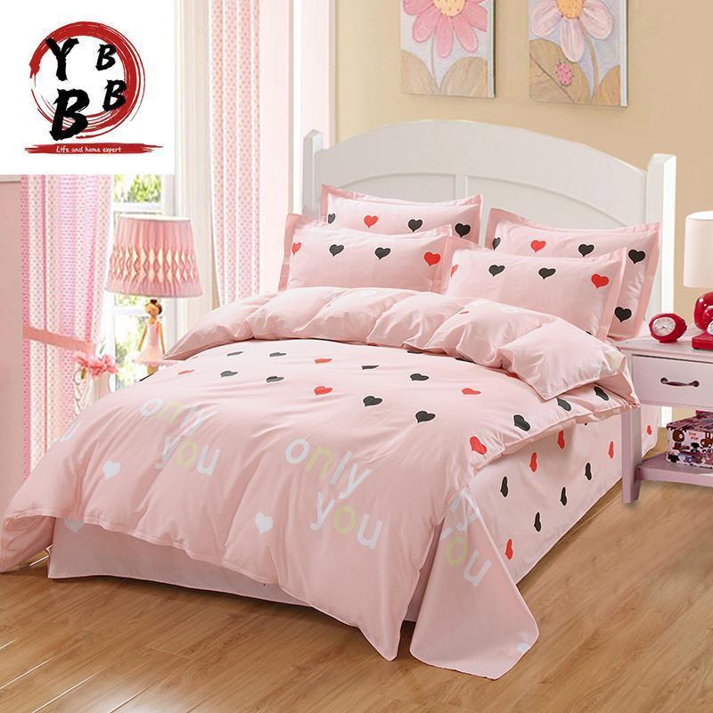 Conjuntos de ropa de cama Juego de cama con forma de corazón encantadora 4/3 PCS Hoja suave cubierta de edredón Moda Trend modcleras para mujer