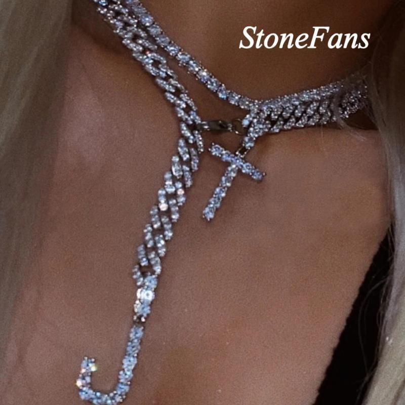 Stonesfans A-Z DIY Duas letras Colar Alfabeto Gargantilha Jóias Para As Mulheres Bling Cristal Calvagem Corrente Pingente Colar Hip Hop Chain