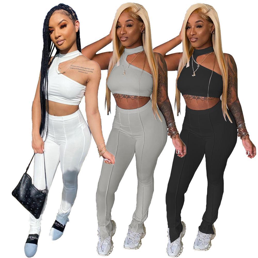 2021 Mulheres não-padrão Vest Leg Zipper Split Conjuntos de duas peças Empilhados Legging Cor Sólida Moda Sexy Slim Sem Mangas Calças Terno Cy098
