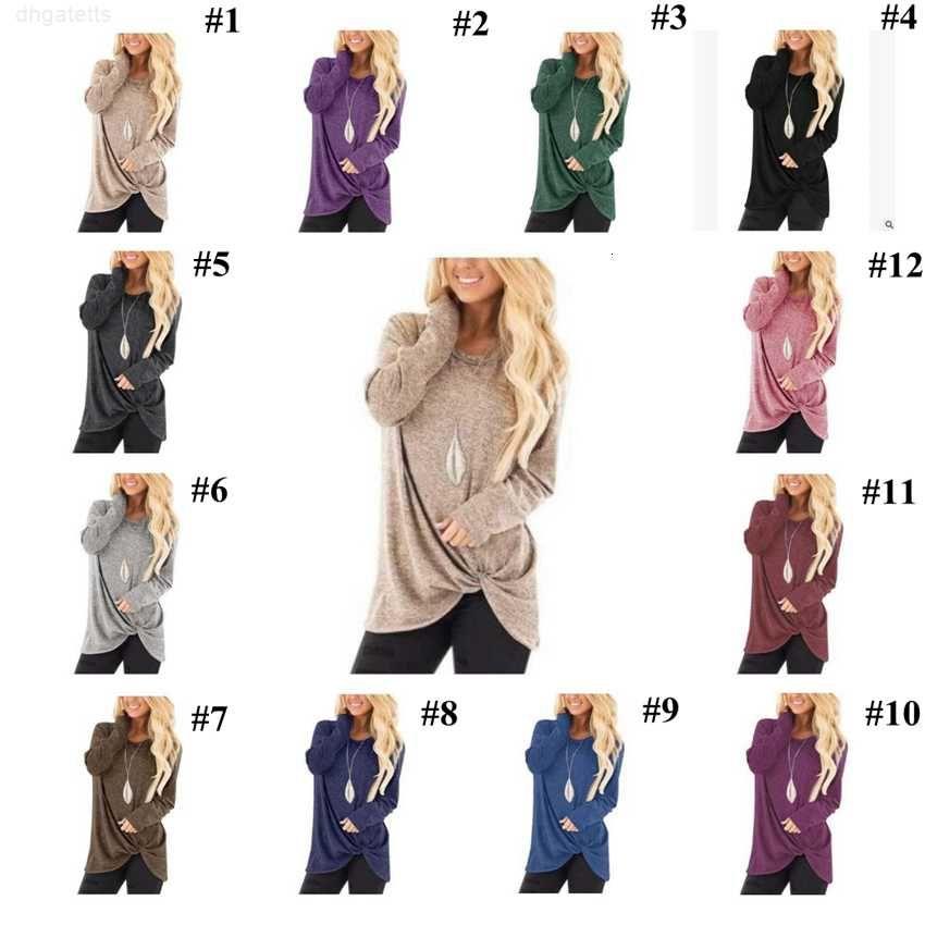 Lado del cuello o twist suelto tee shirts irregular manga larga tops mujeres otoño anudado t shirts ljjo7192
