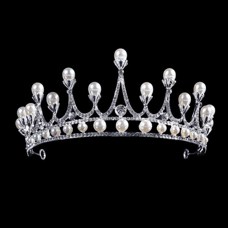 Saç Klipler Barrettes Moda Gelin Headdress Beyaz İmitasyon İnci Taç Rhinestone Düğün Aksesuarları Prenses