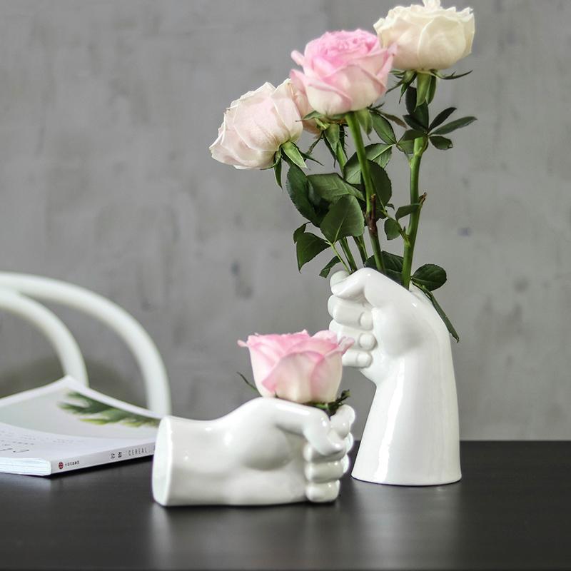 Handgefertigte Keramikvasen, weiße Keramik-Blumentöpfe für Blumen, Anordnung von Blumen, modernes Zuhause- und Wohnzimmerdekoration,