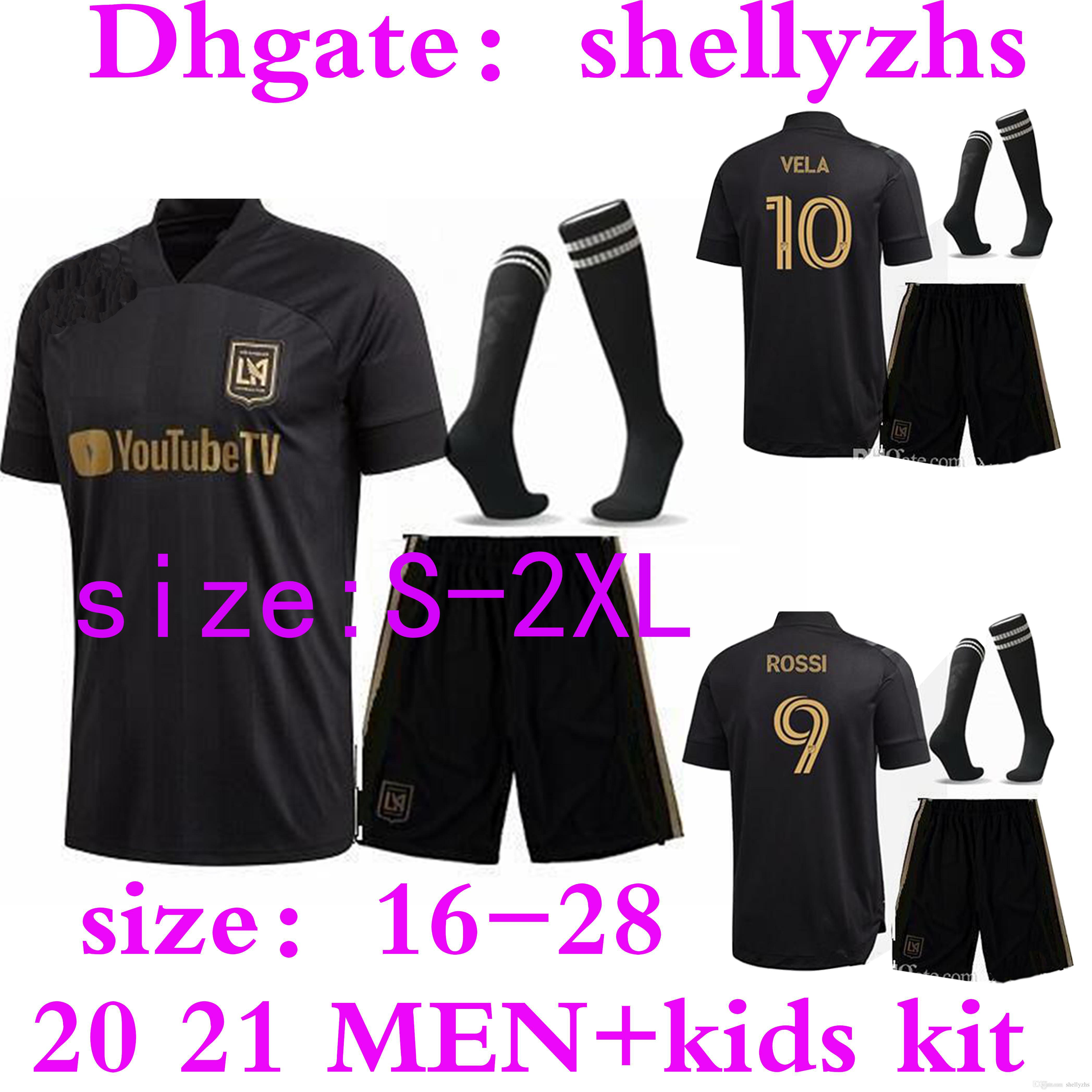 Мужчины + Kids Kit 2020 LAFC футбол для футболки 20 21 Los Angeles FC Youth Carlos Vela Gaber Rossi Football Jersey рубашка