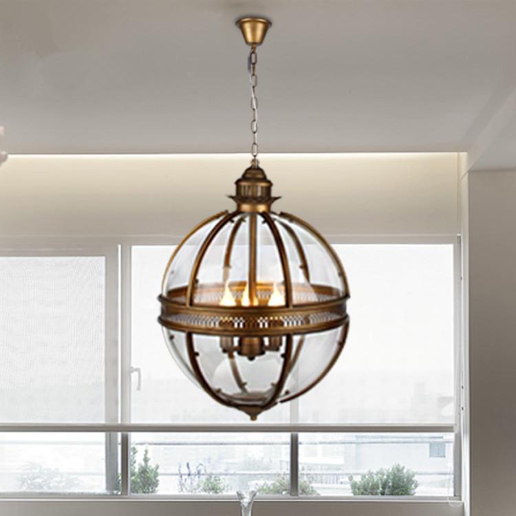 Урожай лофт подвесные светильники из кованого железа стекло тенируют круглые лампы кухонные столовые бар настольные светильники висячие светильники