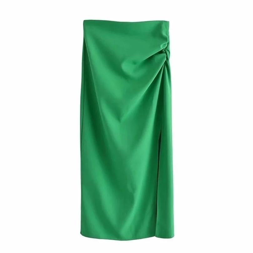 TRAF ZA Yeşil Uzun Etekler Kadın Yüksek Bel Kalem Kadın Zarif Pleats MIDI Beyaz Siyah Yaz Yan Yarık 210729