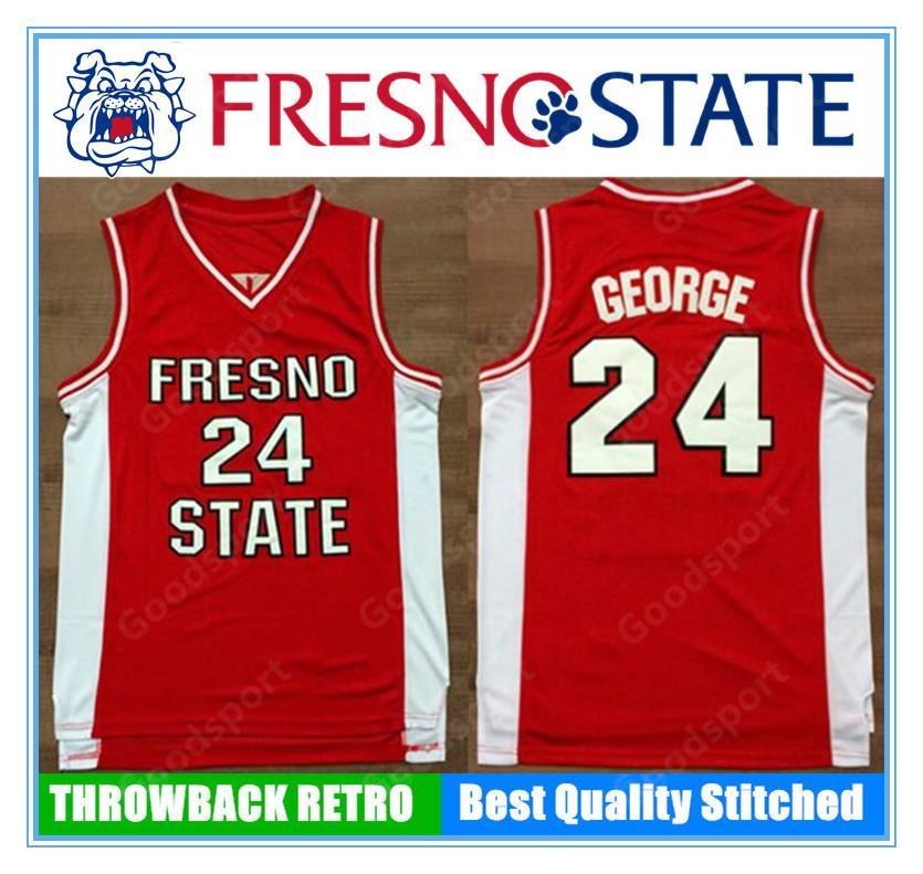 Hot fresno college cucito 24 George cucito ricamo swingman maglie jersey camicie sportive pallacanestro