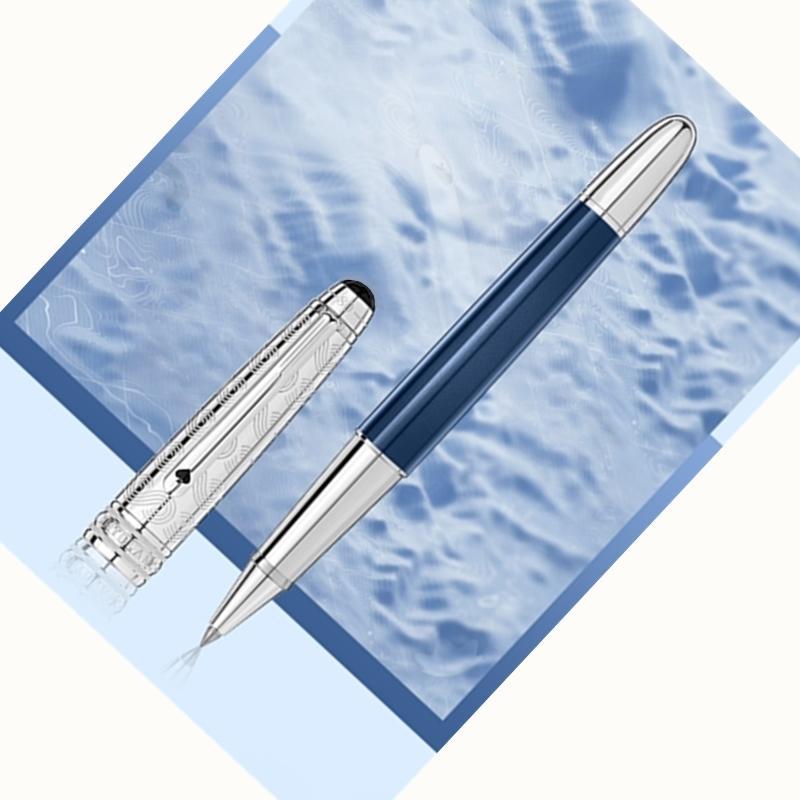 Promotion Nouvelle Arrivée Bleu / Noir Stylo à bille / stylo à boule à rouleaux Exquisite Papeterie de bureau 0.7mm Stylos à billes pour cadeau de Noël sans boîte